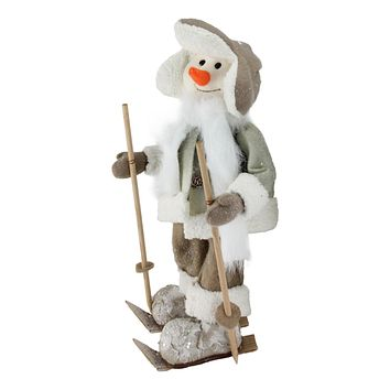 """16"""" White and Brown Ice Skating Snowman Christmas Decoration"""