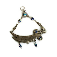 Sword pendant ZULFIQAR wall hanging, Muslim Caliph Imam Ali SABRE, Etched Islamic Calligraphy, Blue evil eye bead, good luck, Oriental decor