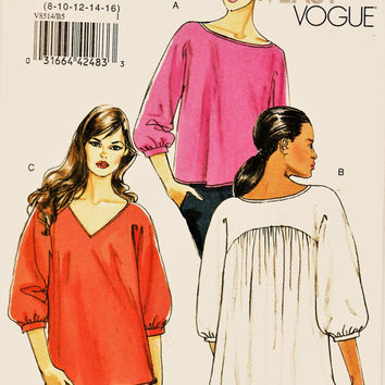 Vogue Pattern V8514 Loose Fitting Romantic Top Sz 8-16 Uncut FF Comfy Flowy Misses Blouse Sewing Patterns Supplies
