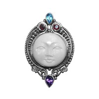 AP-6095-CO1 Sterling Silver Pendant With Bone Face, Amethyst, Blue Topaz & Garnet