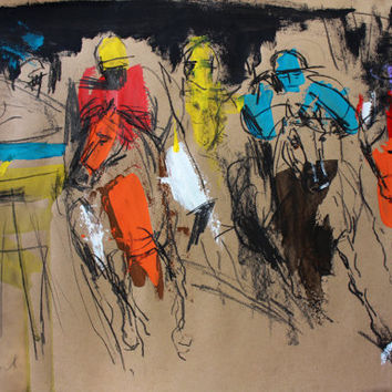 Colorful Original drawing Graphic art Charcoal sketch Figurative Fine art Modern artwork Wall art Figures Horses Jockeys Artistic Gallop