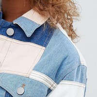 ASOS DESIGN denim patchwork jacket at asos.com