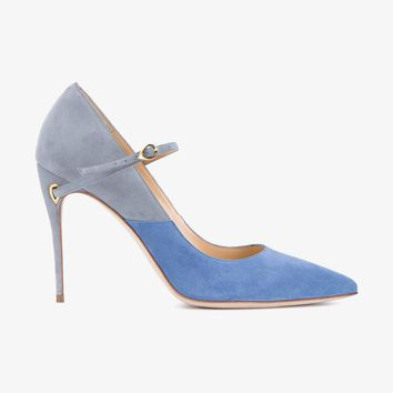 'LORENZO' LEATHER AND SUEDE PUMPS