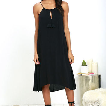Olive & Oak Aloha Adventure Black Midi Dress