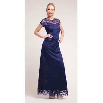 Semi Formal Long Lace Navy Blue Dress Tea Length Short Sleeve