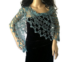 Outlander Claire Beaded Silk Shawl - Pearls on the Seine - Crocheted Fraser Gabaldon FREE SHIPPING