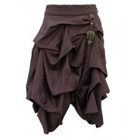 EW-111 - Brown Gathered Steampunk Skirt with Belt Detail