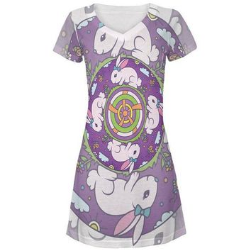 LMFCY8 Mandala Trippy Stained Glass Easter Bunny All Over Juniors Beach Cover-Up Dress