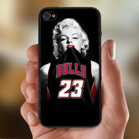 Marilyn Monroe Chicago Bulls NBA  - Photo Print for iPhone 4/4s Case or iPhone 5 Case - Black or White