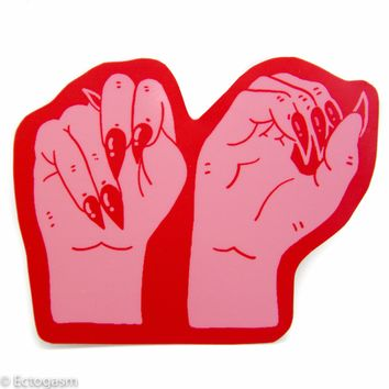 """NO"" Sign Language Feminist Sticker"
