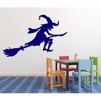 Vinyl Decal Cartoon Image Wicked Fairy Witch on Broom Unique Gift Wall Sticker (n625)