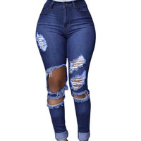Worn Hole Jeans Woman Casual Ripped Jeans For Women Pencil Jeans With High Waist Pants Women's Jeans Femme Vintage Denim