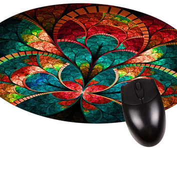 Stained Glass Flower Petals Round Mouse pad - Stylish Durable Office Accessory Made in the USA