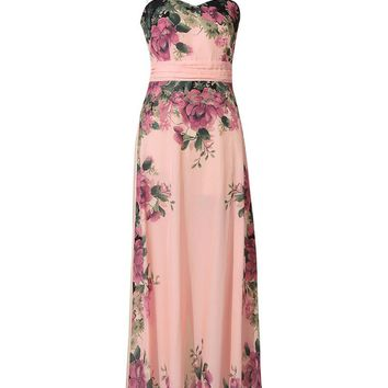 Streetstyle  Casual Spaghetti Strap Chiffon Plus Size Maxi Dress In Floral Printed