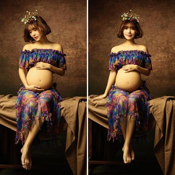 Maternity Dress Photography Props Maternity printing Lace dress chiffon Clothing Pregnant Women Photo Shooting Clothes