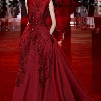 Sexy elie saab Long Women Evening Dress Red Dress Evening abiye gece elbisesi Plus Size formal dresses Evening 2016