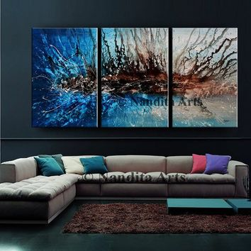 Painting, Modern Art, Artwork, Gray Contemporary Wall Art Original Large Canvas Art Teal Wall Art Home Decor Fine Art Gallery - Nandita