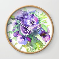 Pansy, flowers, violets Wall Clock by SurenArt