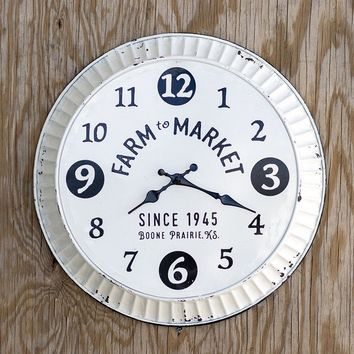 """Distressed Country Black & White Metal 16"""" Bottle Cap FARM TO MARKET Wall Clock"""