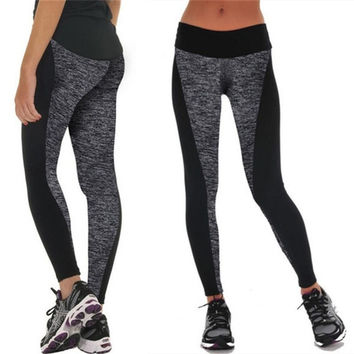 Women Fashion Black And Gray Paneled Plus Slimming Pants Leggings For Running/Yoga/SportS M L XL_trq [8383957447]