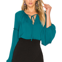 Amanda Uprichard Naya Blouse in Jade | REVOLVE