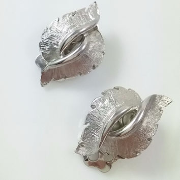 Vintage Coro Earrings- Silver Tone Leaf Clip Earrings