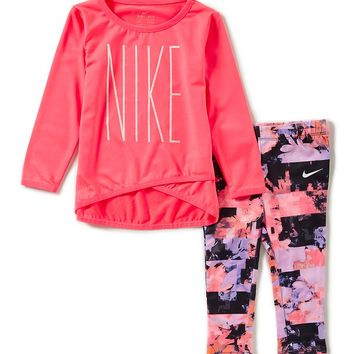 Nike Baby Girls 12-24 Months Crossover Tunic & Sublimation-Printed Leggings Set | Dillards
