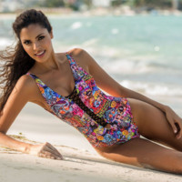 cartoon printed one piece swimsuit  bikini B0015383