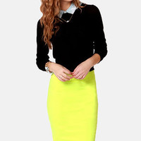 Radio Attractive Neon Yellow Pencil Skirt