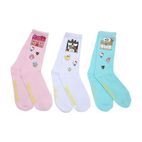Hello Sanrio Town Crew Socks 3 Pair
