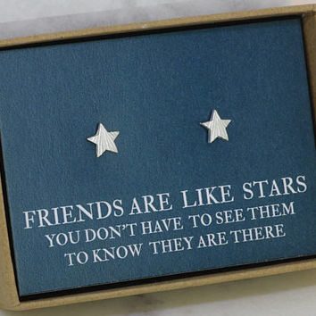 Star earrings, star stud earrings, gift for friend at christmas, friends are like stars, friend gift, star studs - Astra