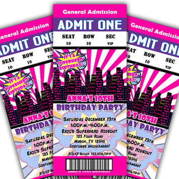 Superhero Birthday Party Invitation Girls - Pink Superhero Invitations - Comic - Girl Birthday - Teen Girls - Admission Ticket - Pink Purple