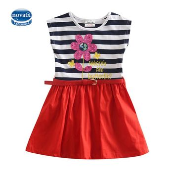 novatx H5066 retails nova kids clothing polka dot cartoon characters sleeveless dresses baby girls frocks child summer clothes