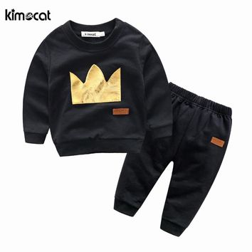 Kimocat spring and autumn sweater suit long sleeve sweater+pants Crown printing sport set baby boy clothes casual baby clothing