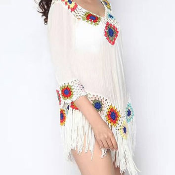 Chic Crochet Fringed Cover-Up