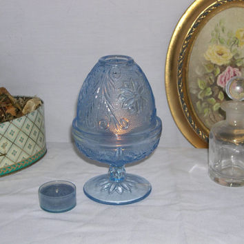 light Blue glass Fairy lamp, cut Glass candle holder with top, baby Blue decor