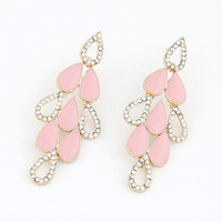 Simple Style Pink Drop-shaped Earring with Shiny Diamond, Lady-wearing Jewelry, Women's Fashion Accessory, Party Jewelry 10062782