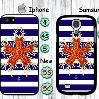 Starfish, Sea Star, Coral, Anchor, Ocean personalized Iphone4 case, Iphone4s case, Iphone5, 5S, 5C case, galaxy S3/S4 case, itouch case