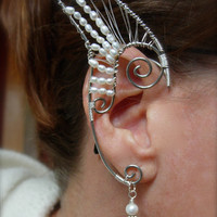 Dramatic Pair of Silver Woven Wire Elf Ear Cuffs with Genuine Freshwater Pearls, Ethereal, Magical, Renaissance, Elven