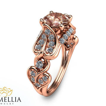 Unique Rose Gold Morganite Engagement Ring Rose Gold Engagement Ring Morganite Engagement Ring Unique Engagement Ring