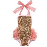 Gold Sequin and Lace Infant Romper - Peach