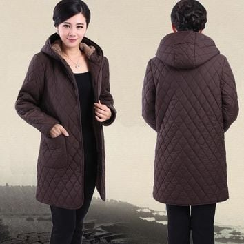 Parkas winter new middle-aged women plus fertilizer to increase cotton velvet hooded winter coat jacket mother dress
