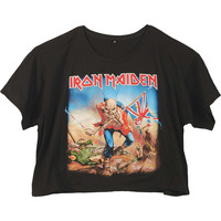 Iron Maiden  Trooper Girls Jr Fashion Top Black Rockabilia