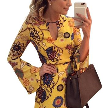 Chicloth Yellow Printed Bell Long Sleeve Skater Dress