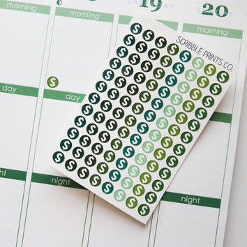 96 Mini Money Dots Die-Cut Stickers // (Perfect for Erin Condren Life Planners)