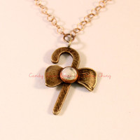 Candy Cane Long Necklace- Bronze Pendant- Bronze Chain- Natural Howlite White Stone