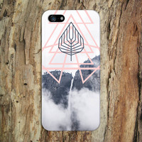 Pink Geometric Shapes x Grey Mountain Leaf Phone Case for iPhone 6 6 Plus iPhone 5 5s 5c 4 4s Samsung Galaxy s5 s4 & s3 and Note 5 4 3 2