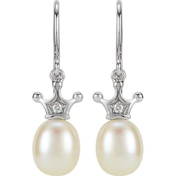 14K White Gold Freshwater Cultured Pearl & Ethically Mined Natural Diamond Crown Earrings