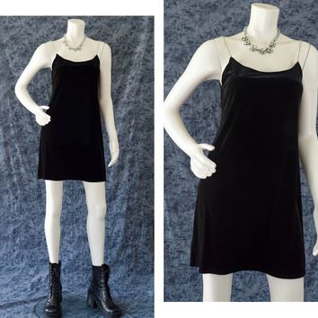 Black Velvet Dress, 90s Velvet Dress, Rhinestone Spaghetti Strap Dress, 90s Grunge Dress, Rave Dress, BlackMini Dress, Women's Size Medium