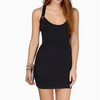 Black Sequined Strap Bodycon Dress